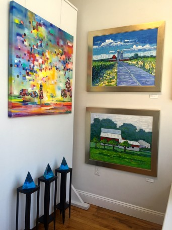 Colorful paintings and radiant glass