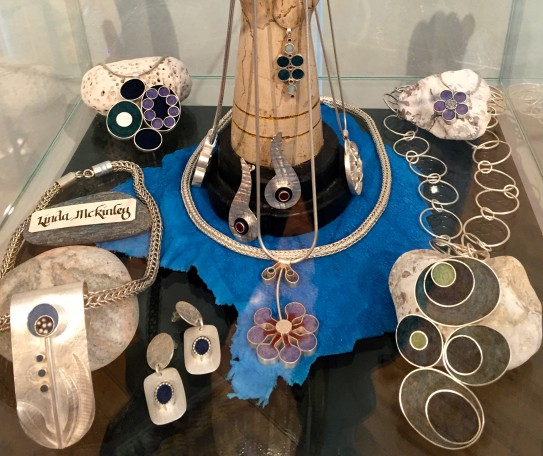 there's sterling Jewelry with fiber inlays
